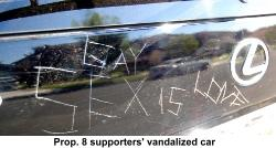 vandalized car